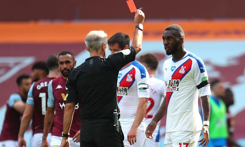 Crystal Palace's Christian Benteke is sent off against Aston Villa in July.