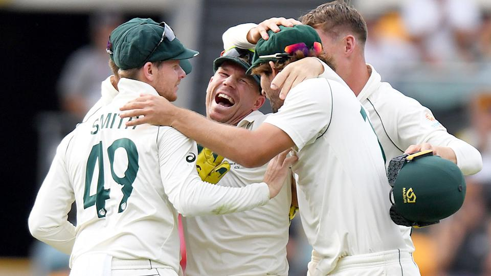 It was all smiles for Australia after their big first Test win over Pakistan. Pic: Getty