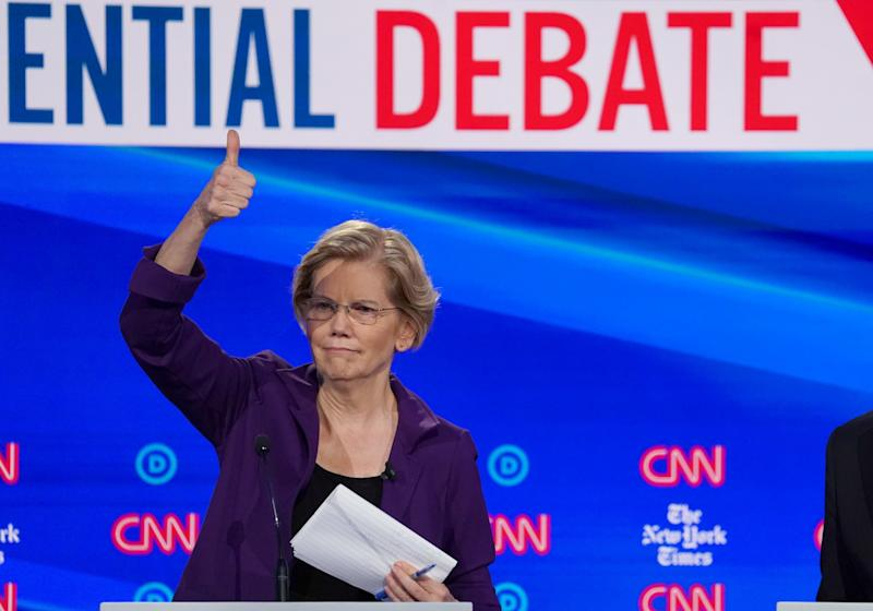 Democratic presidential candidate Senator Elizabeth Warren gives a thumbs up to someone in the audience during a break in the fourth U.S. Democratic presidential candidates 2020 election debate in Westerville, Ohio, U.S., October 15, 2019. REUTERS/Shannon Stapleton TPX IMAGES OF THE DAY