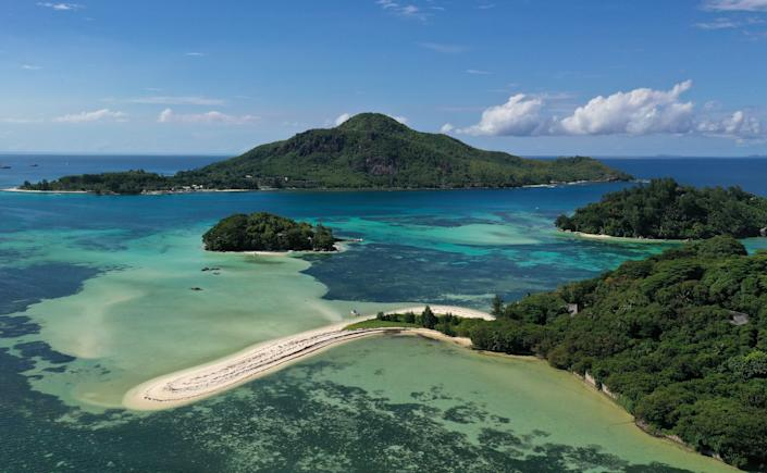 SEYCHELLES - APRIL 7, 2021: A view of Long, Round and Sainte Anne Islands in the Indian Ocean. Valery Sharifulin/TASS (Photo by Valery Sharifulin\TASS via Getty Images)