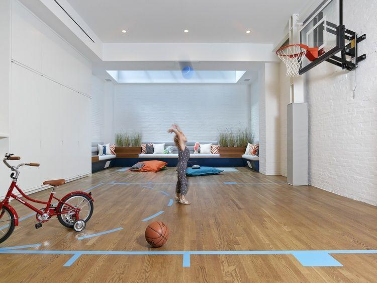 <p>Move over, Barclays Center. If you and/or your kids love shooting hoops, build a half court at home. You could also get a kid-sized, arcade-style basketball hoop if space is an issue. We'll be in that little seating area in the back, if you need us.</p>