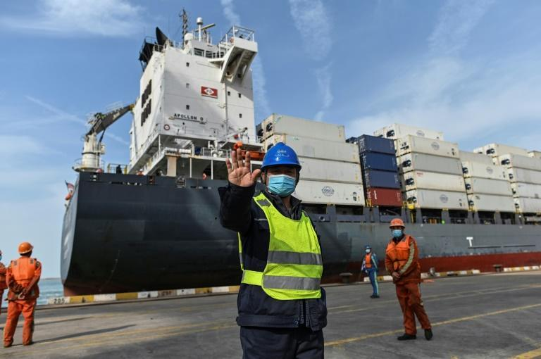 China's Lianyungang Port is one of many sites racing to keep ahead of the global shipping gridlock created by the pandemic