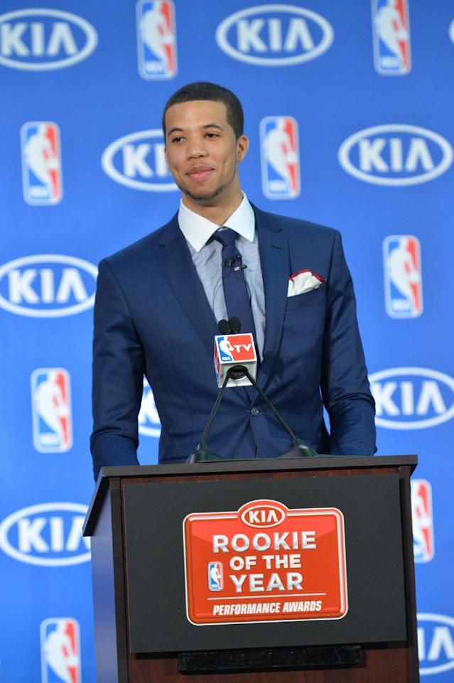 PHILADELPHIA, PA - MAY 5: Michael Carter-Williams of the Philadelphia 76ers speaks to the media for being named the 2013-14 Kia NBA Rookie of the Year at the Philadelphia College of Osteopathic Medicine on May 5, 2014 in Philadelphia, Pennsylvania. (Photo by Jesse D. Garrabrant/NBAE via Getty Images)