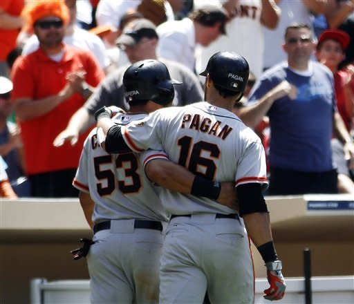 San Francisco Giants' Melky Cabrera (53) and Angel Pagan (16) walk together back to the dugout after Pagan's two-run home run against the San Diego Padres in the seventh inning of a baseball game, Thursday, June 7, 2012, in San Diego. (AP Photo/Lenny Ignelzi)