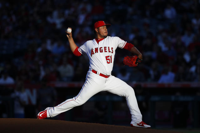 Los Angeles Angels starting pitcher Jaime Barria throws against the Arizona Diamondbacks during the first inning of a baseball game, Monday, June 18, 2018, in Anaheim, Calif. (AP Photo/Jae C. Hong)