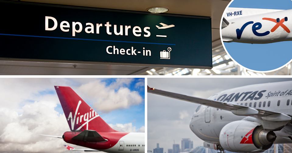 Departures sign at Sydney airport and planes with logos for Rex, Virgin and Qamtas