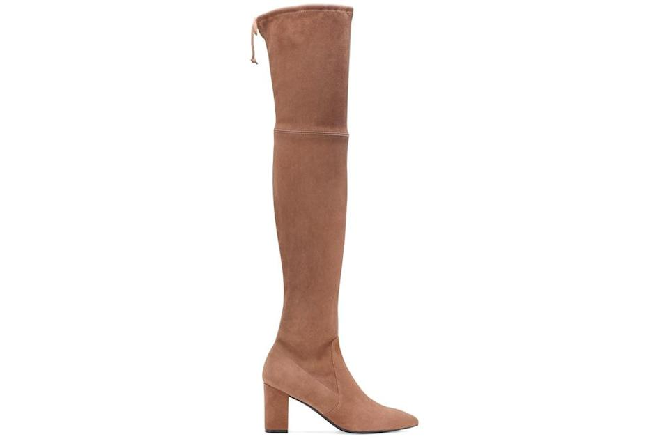 over the knee boots, suede, tan, stuart weitzman