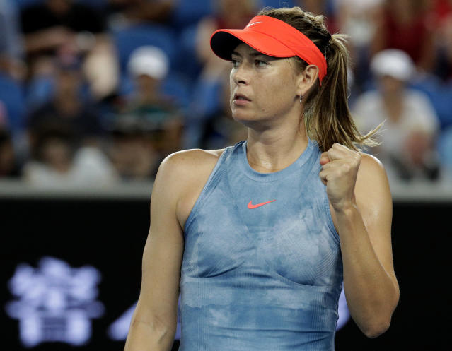 Russia's Maria Sharapova reacts during her second round match against Sweden's Rebecca Peterson at the Australian Open tennis championships in Melbourne, Australia, Wednesday, Jan. 16, 2019. (AP Photo/Aaron Favila)