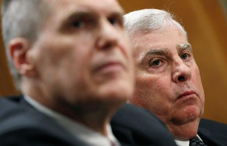 Retired four-star Army General John Abizaid, nominee to be U.S. ambassador to Saudi Arabia, and Matthew Tueller, nominee to be U.S. ambassador to Iraq, testify at the Senate Foreign Relations Committee's confirmation hearing on Capitol Hill in Washington, U.S., March 6, 2019. REUTERS/Kevin Lamarque