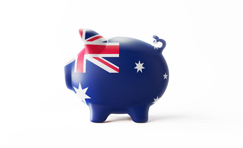 Piggy bank textured with Australian flag isolated on white background. Horizontal composition with copy space. Clipping path is included. Great use for savings concepts.