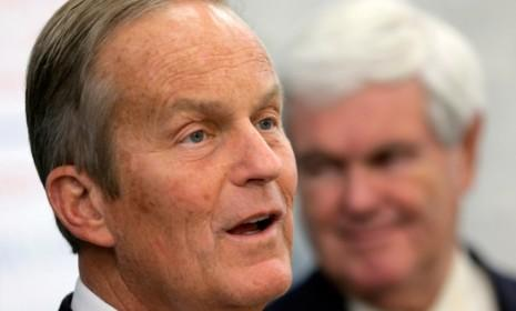 Todd Akin, accompanied by Newt Gingrich, speaks at a campaign event in Lee's Summit, Mo., on Oct. 30.