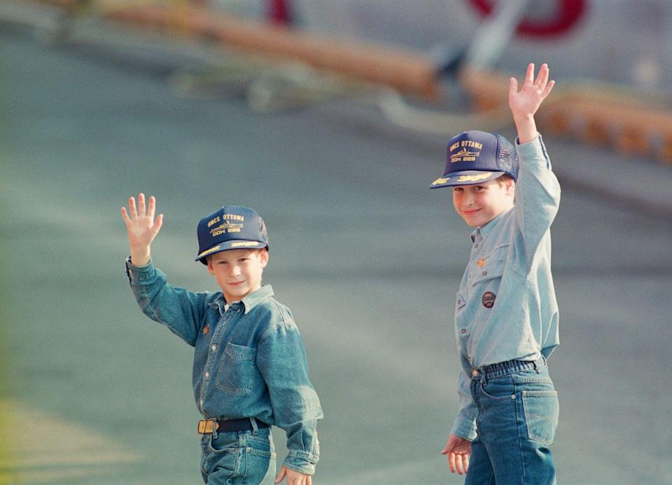 <p>My heart can't take the sweetness of young Prince Harry (left) and Prince William (right) in this 1991 snap. Taking the phrase 'Canadian tuxedo' to heart, the boys styled out head-to-toe denim while touring the HMCS Ottowa ship in Canada with their parents. True 90s kid style.</p>