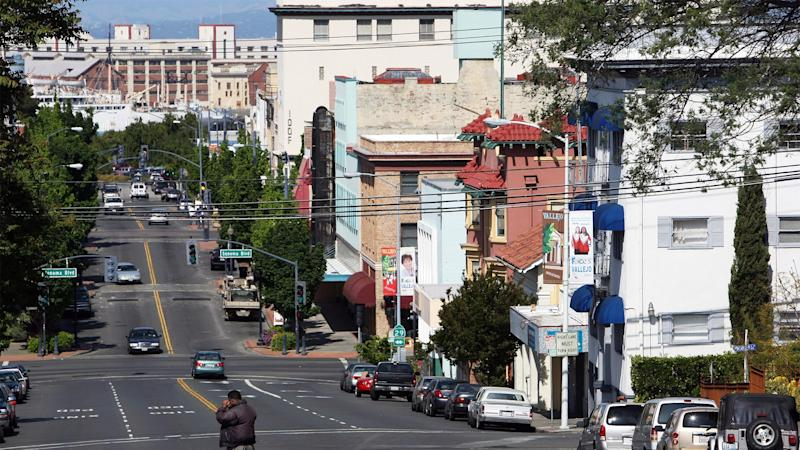 Georgia Street in Vallejo, in May 2008, shortly after the city council voted to file for bankruptcy.