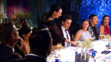 Amy serving Josh on My Kitchen Rules.