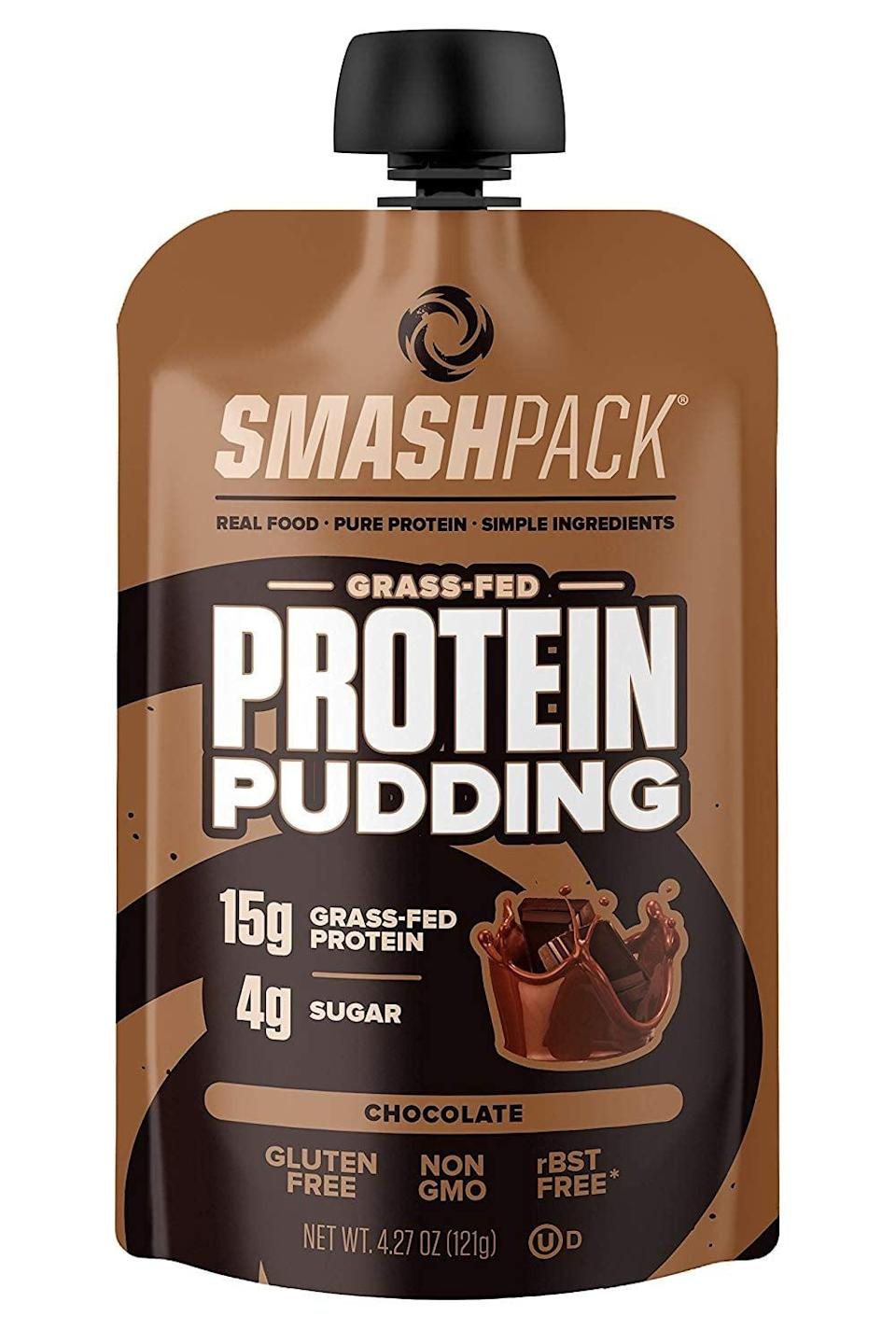 <p>If chocolate pudding is one of your favorite nostalgic treats, you've got to try these <span>SmashPack Protein Pudding Pouches</span> ($17 for six).</p>