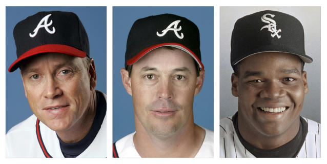 FILE - From left are Tom Glavine in 2008, Greg Maddux in 2008, and Frank Thomas in 1994 file photos. Glavine, Maddux and Thomas will appear on the Baseball Hall of Fame ballot for the first time when it is mailed to writers next month. (AP Photo/File)
