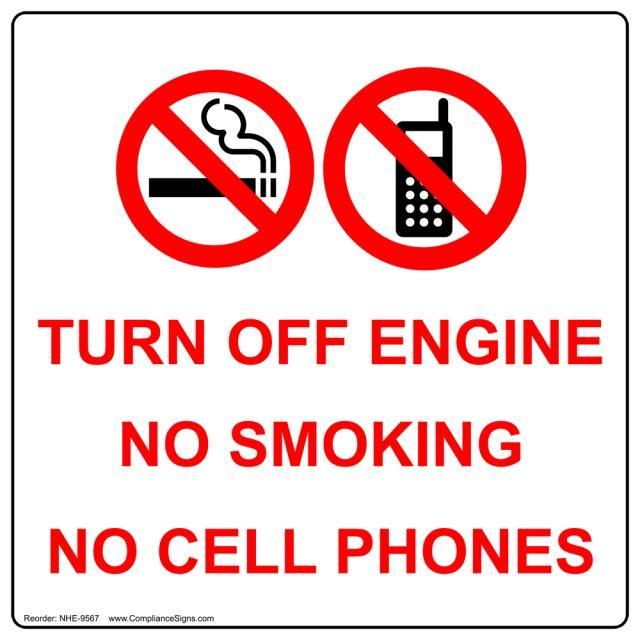 Sign asking not to use cellphone.