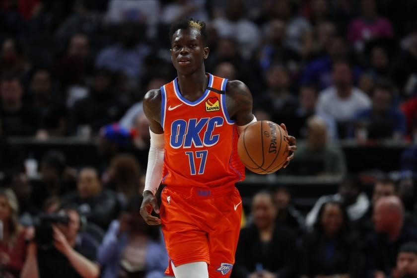 Oklahoma City Thunder guard Dennis Schroder (17) plays against the Detroit Pistons.