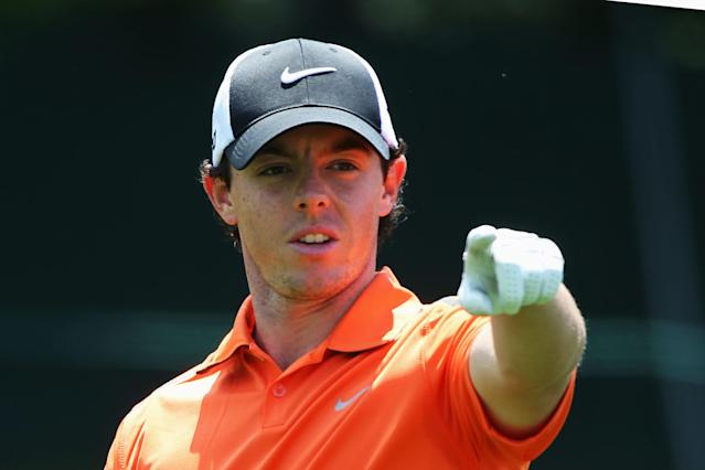 ARDMORE, PA - JUNE 14: Rory McIlroy of Northern Ireland points on the fourth hole during Round Two of the 113th U.S. Open at Merion Golf Club on June 14, 2013 in Ardmore, Pennsylvania. (Photo by Andrew Redington/Getty Images)