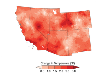Temperature increases across the Southwest between 1901 and 2016.