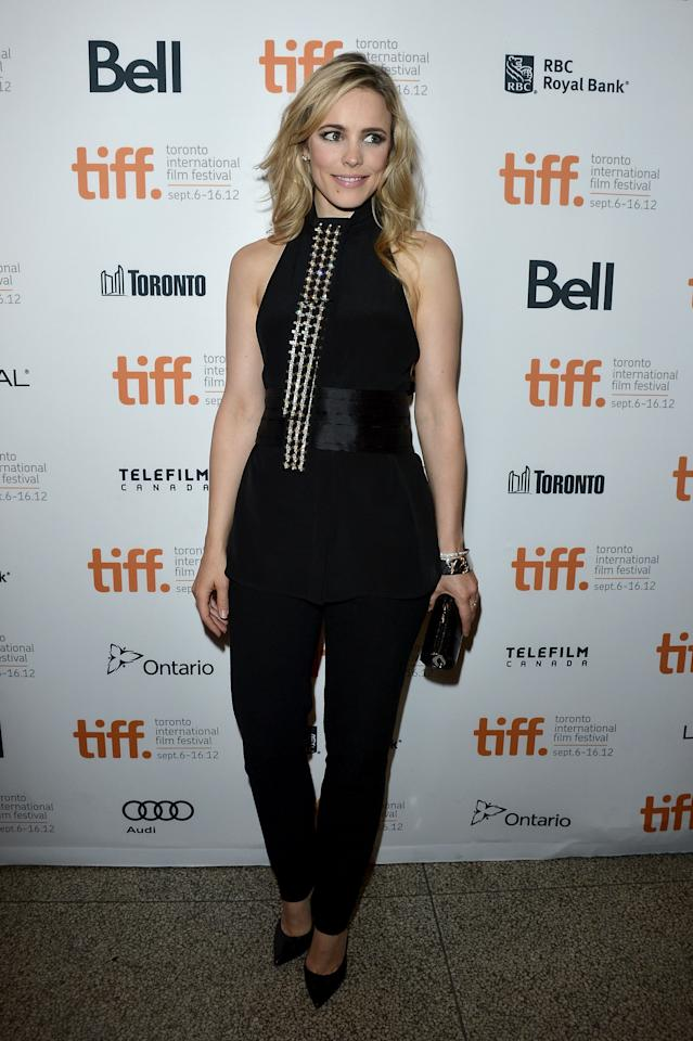 "BEST: After her <a target=""_blank"" href=""http://ca.movies.yahoo.com/photos/tiff-2012-best-and-worst-dressed-slideshow/rachel-mcadams-photo-1347381249.html"">unusual one-sleeved frock</a> at the ""To The Wonder"" premiere Monday night, Rachel McAdams went for a slightly safer -- but just as gorgeous -- look at the screening of her other TIFF film, ""Passion."" Once again, she goes for a high neckline, but it's still a sleek and sexy halter top, and the shirt's detailing helps keep the rest of the black ensemble from being too boring. Well played, Rachel!"