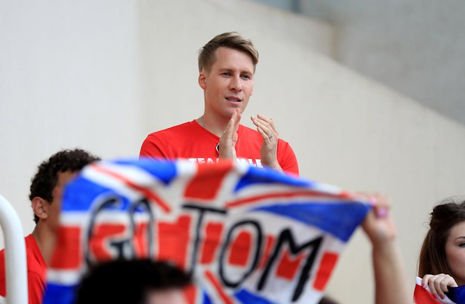 Dustin Lance Black supporting Tom Daley at the Rio Olympic Games in 2016 (PA) (PA Archive)
