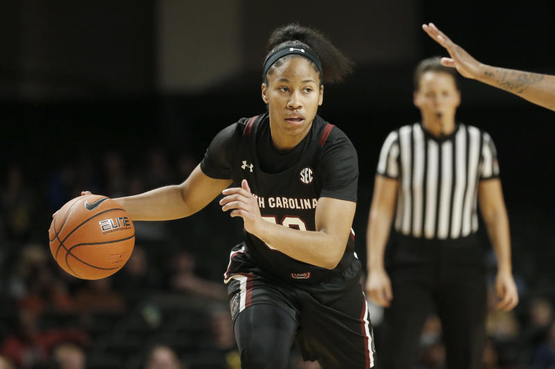 South Carolina guard Tyasha Harris plays against Vanderbilt in the first half of an NCAA college basketball game Sunday, Jan. 12, 2020, in Nashville, Tenn. (AP Photo/Mark Humphrey)