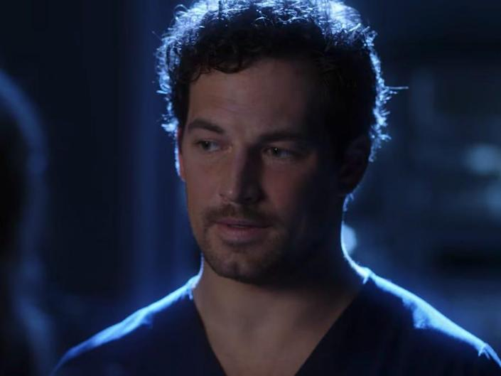 Andrew Deluca wearing scrubs in a blue-tinted dream sequence on greys anatomy