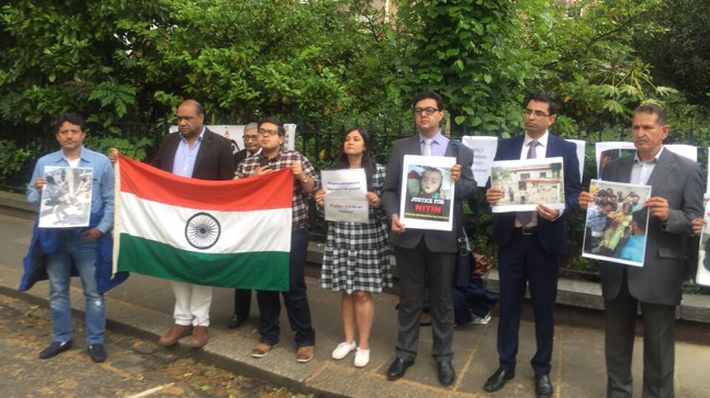 The larger Indian diaspora in London also joined the protest in solidarity with many pointing out how Pakistan violated ceasefire even in the month of Ramadan.