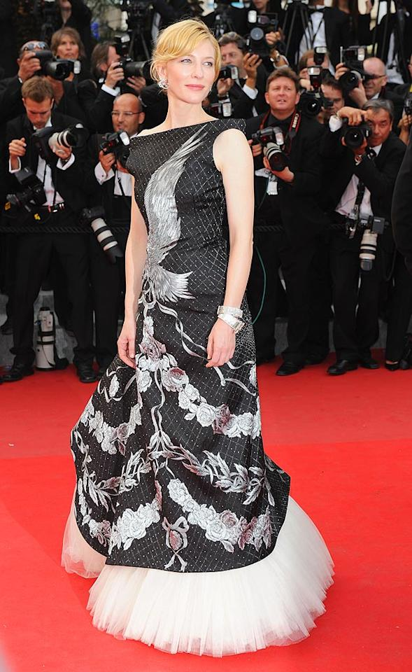"Cate Blanchett's sideswept 'do and baubles were brilliant, but the eagle-adorned, tulle-enhanced Alexander McQueen frock she donned to the ""Robin Hood"" premiere at the Cannes Film Festival failed miserably. Venturelli/<a href=""http://www.wireimage.com"" target=""new"">WireImage.com</a> - May 12, 2010"