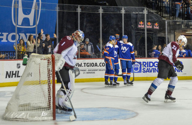 Colorado Avalanche goaltender Semyon Varlamov (1) looks down after New York Islanders right wing Jordan Eberle (7) scored a goal in the second period of an NHL hockey game Saturday, Feb. 9, 2019, in New York. (AP Photo/Howard Simmons)