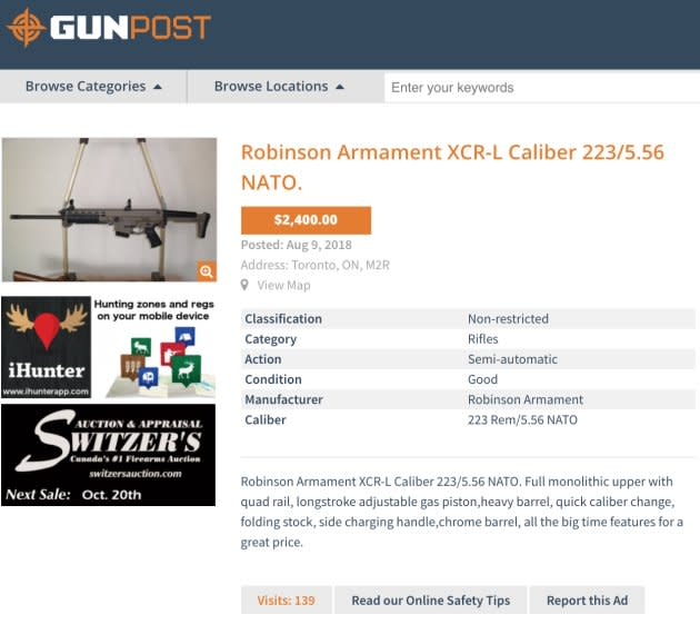 A Robinson Armament XCR-L available for sale on GunPost.ca.