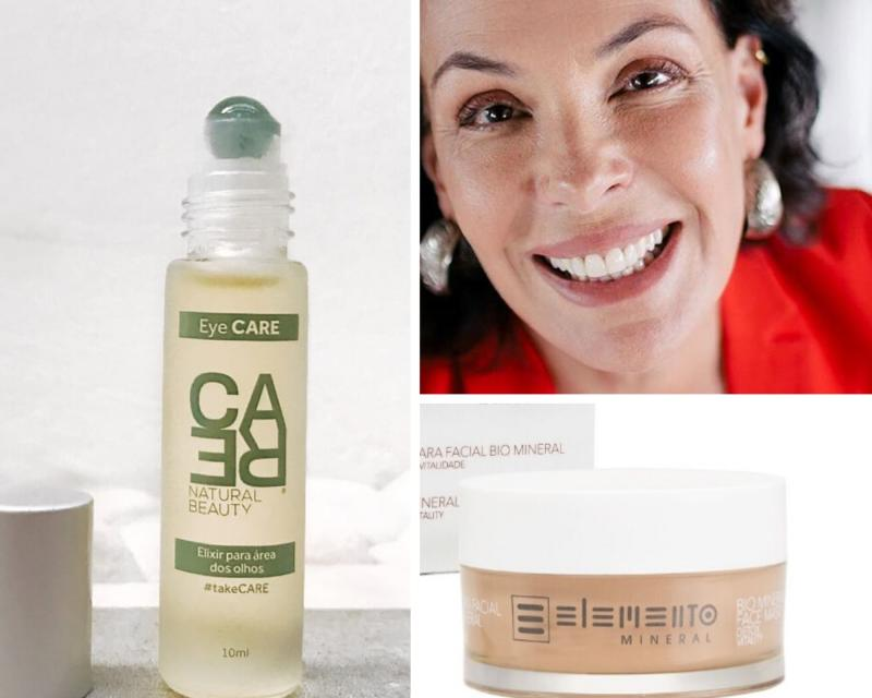 Carolina Ferraz: Eye Serum, da Care Natural Beauty; e Máscara facial da Elemento Mineral.
