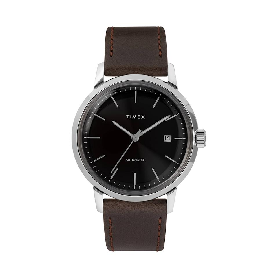 "<p>Proper mechanical hand-wound movement at this price point seems too good to be true — but this sleek timepiece will be one he'll treasure for years to come. The leather-strap beauty is inspired by Timex's iconic 1960s Marlin automatic design. The timeless piece will become his signature accessory.<br /><strong><a rel=""nofollow"" href=""https://fave.co/2AMgYLI"">Shop it</a>:</strong> $249, <a rel=""nofollow"" href=""https://fave.co/2AMgYLI"">nordstrom.com</a> </p>"