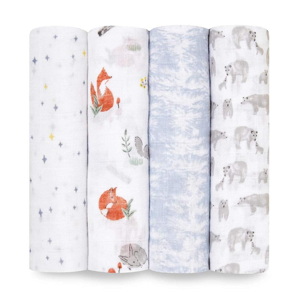 <p>It seems like every parent loves <span>Aden + Anais Muslin Swaddle Blankets</span> ($55 for four); just visit any newborn playgroup and you'll see them everywhere.</p>