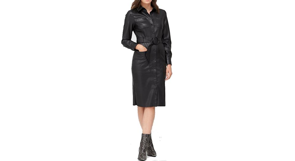 V by Very Faux Leather Midi Belted Shirt Dress