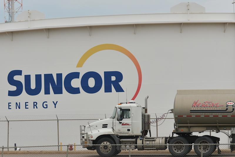 A view of Suncor Energy logo in Suncor Energy Edmonton Refinery, Alberta. On Tuesday, September 11, 2018, in Edmonton, Alberta, Canada. (Photo by Artur Widak/NurPhoto via Getty Images)