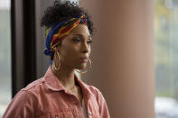 """This image released by FX shows Mj Rodriguez as Blanca in a scene from """"Pose."""" Rodriguez was nominated for an Emmy Award for outstanding leading actress in a drama series. (Eric Liebowitz/FX via AP)"""