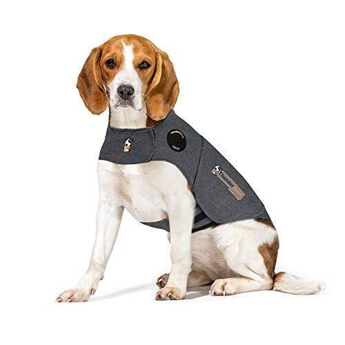 """<p><strong>Thundershirt</strong></p><p>amazon.com</p><p><strong>$39.95</strong></p><p><a href=""""https://www.amazon.com/dp/B0029PYC3K?tag=syn-yahoo-20&ascsubtag=%5Bartid%7C10070.g.36125697%5Bsrc%7Cyahoo-us"""" rel=""""nofollow noopener"""" target=""""_blank"""" data-ylk=""""slk:Shop Now"""" class=""""link rapid-noclick-resp"""">Shop Now</a></p><p>The constant, gentle pressure of the Thundershirt helps calm a dog's anxiety, fear and overexcitement. It's a drug-free way to help your dog get through fireworks, thunder, separation and vet visits.</p>"""
