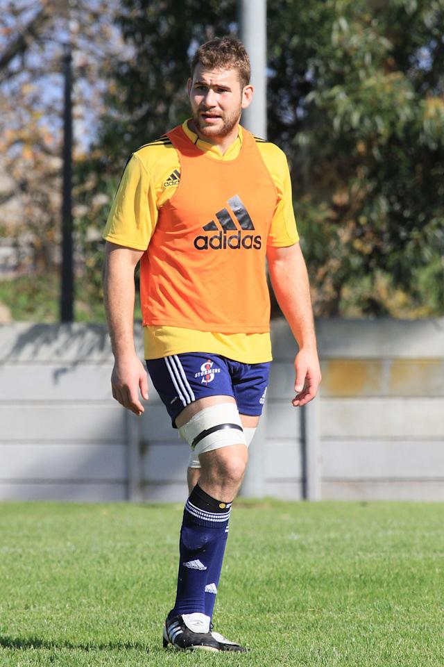 CAPE TOWN. SOUTH AFRICA - MAY 09: Jebb Sinclair during the DHL Stormers training session at High Performance Centre in Bellville on May 09, 2012 in Cape Town, South Africa. (Photo by Ashley Vlotman/Gallo Images/Getty Images)