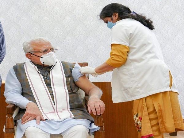 Haryana Chief Minister Manohar Lal Khattar receiving his second dose of Covid-19 vaccine (Photo/ANI)