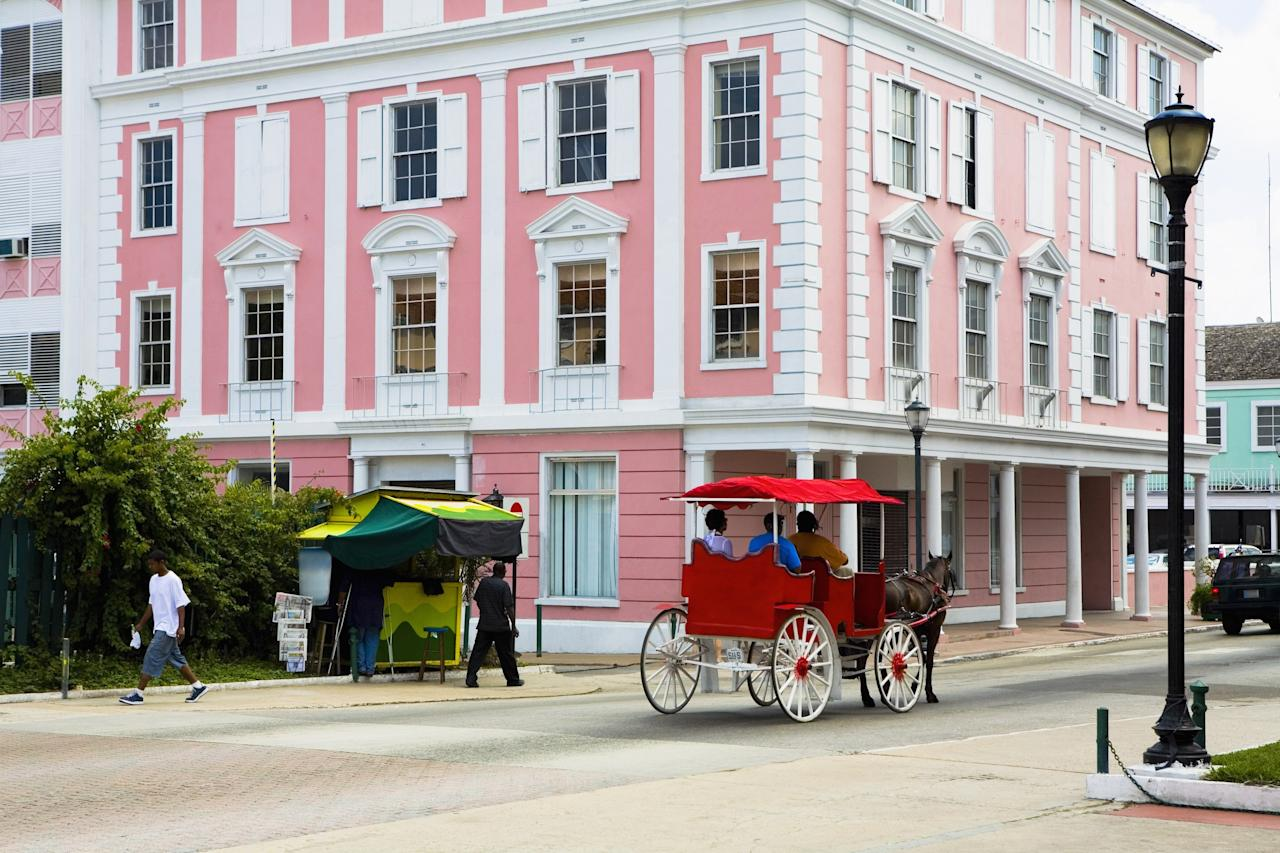 You know the Bahamas for its pink-sand beaches, but what about pink architecture? Colonial-style buildings shine in varying shades of pink, including the flamingo-pink ones built in Parliament Square in 1815 by the Loyalists in the country's capital city.