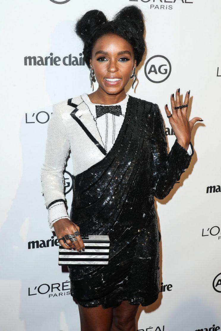 A closer look at Janelle Monáe's Thom Browne look. (Photo: Splash)