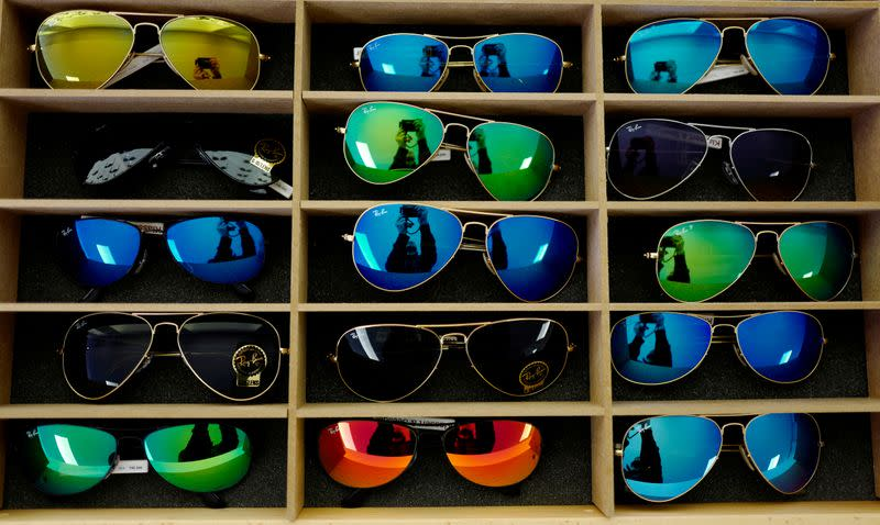 FILE PHOTO: Sunglasses from Ray Ban are on display at a optician shop in Hanau near Frankfurt