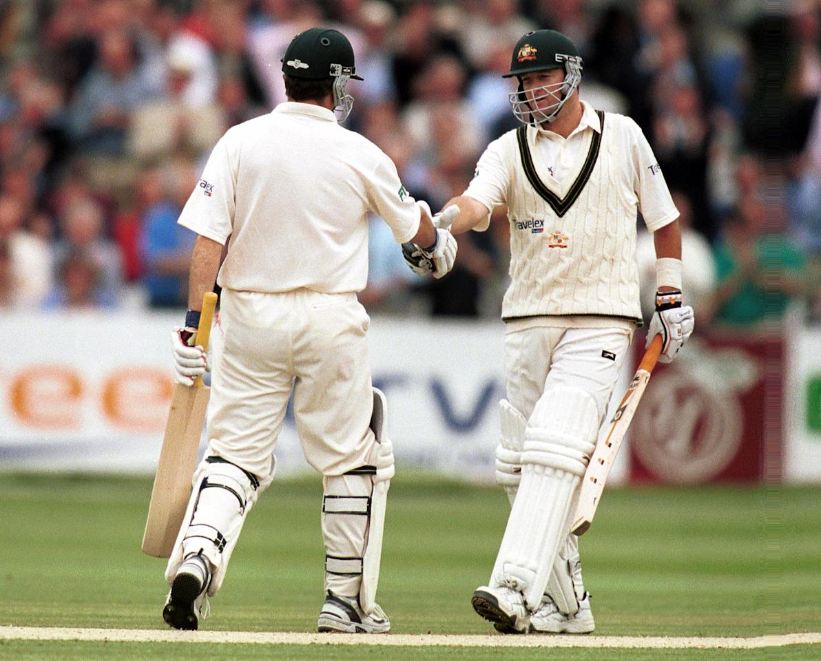 20 Jul 2001:  Mark Waugh of Australia is congratulated on his hundred by brother Steve Waugh during the second day of the Second Npower Test between Engalnd and Australia at Lord's, London.   Mandatory Credit: Craig Prentis/ALLSPORT