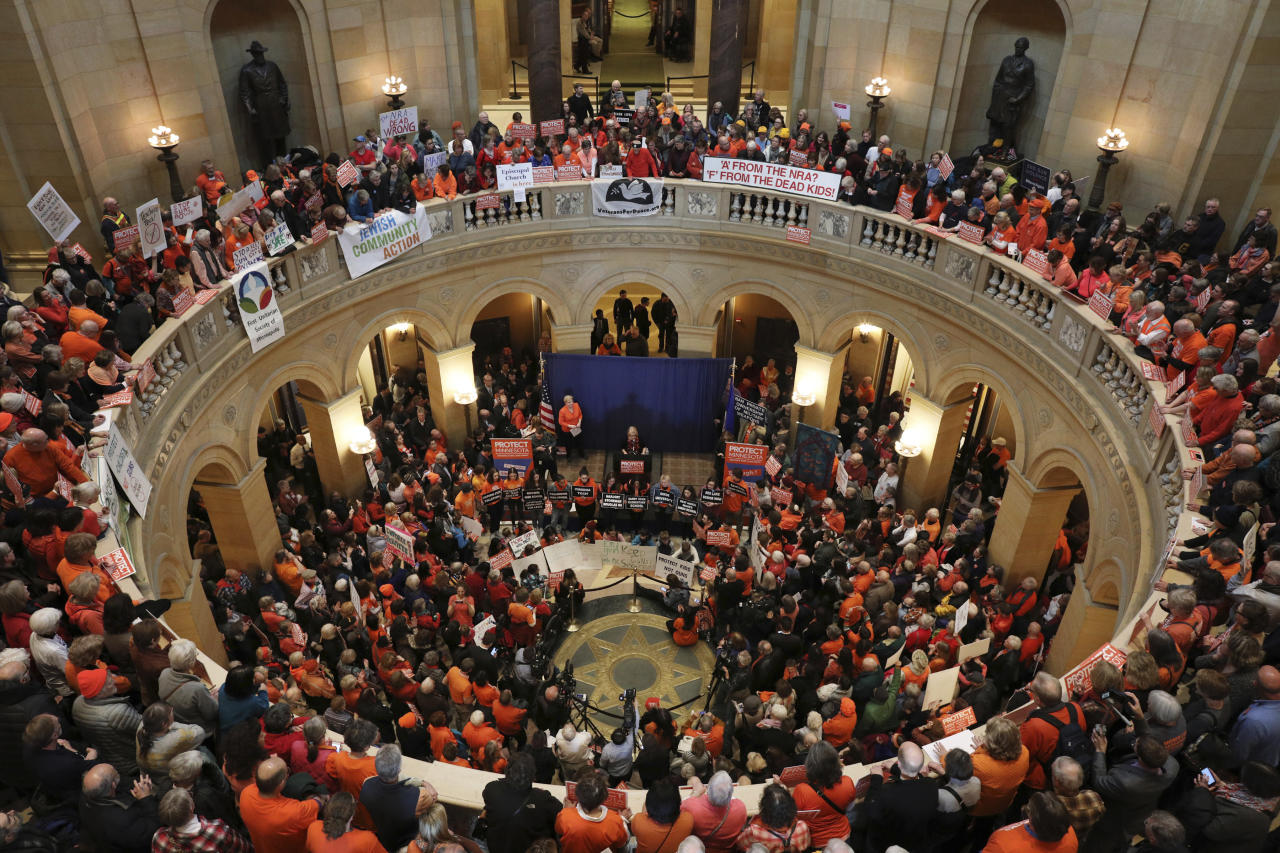 "<p>People rally in the Minnesota Capitol rotunda ""for sensible gun laws,"" sponsored by a coalition of gun control and left-leaning groups Thursday, Feb. 22, 2018, in St. Paul, Minn. (Photo: Anthony Souffle/Star Tribune via AP) </p>"