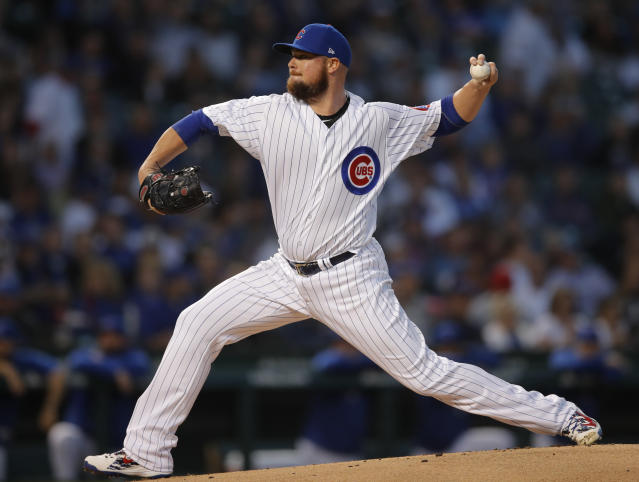 Chicago Cubs' Jon Lester pitches against the Milwaukee Brewers during the first inning of a baseball game Monday, Sept. 10, 2018, in Chicago. (AP Photo/Jim Young)