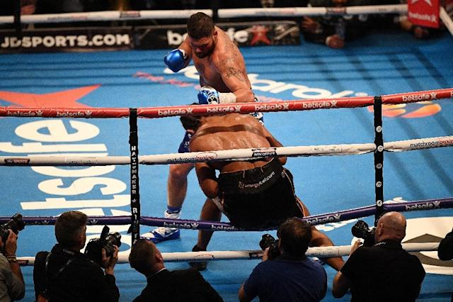 Tony Bellew, the WBC world cruiserweight champion, stepped up a division to stop David Haye in the 11th round after knocking him through the ropes (AFP Photo/Justin TALLIS)