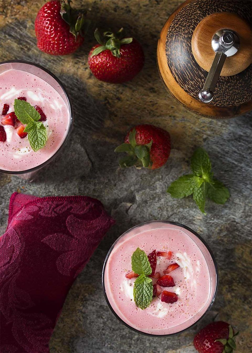 """<p>Although this dish is sweet, this blogger swears by a sprinkle of black pepper. She notes it actually """"enhances the strawberry flavor and brings out its sweetness.""""</p><p><strong>Get the recipe at <a href=""""http://www.justalittlebitofbacon.com/chilled-strawberry-yogurt-soup/"""" rel=""""nofollow noopener"""" target=""""_blank"""" data-ylk=""""slk:Just a Little Bit of Bacon"""" class=""""link rapid-noclick-resp"""">Just a Little Bit of Bacon</a>.</strong></p>"""