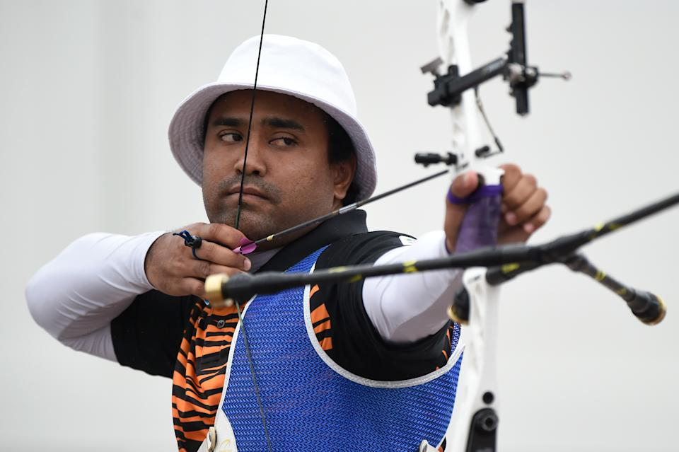 TOKYO, JAPAN - JULY 14: Khairul Anuar Mohamad of Malaysia competes during the Ready Steady Tokyo - Archery, Tokyo 2020 Olympic Games test event at the Yumenoshima Park Archery Field on July 14, 2019 in Tokyo, Japan. (Photo by Matt Roberts/Getty Images)